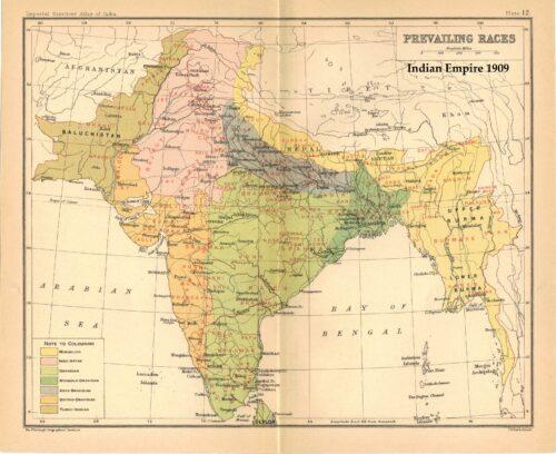 Karte zur Verteilung der Rassen, wie sie über den Zensus von 1901 konstruiert worden waren